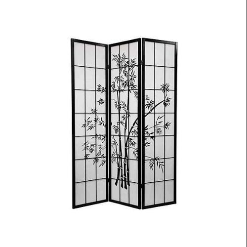 Lucky Bamboo Room Divider (4 Panels / Black)