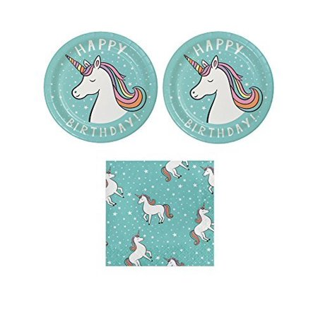 Unicorn Birthday Party Bundle for 20 Guests 2 Items- Unicorn Plates and Napkins - Unicorn Party Plates