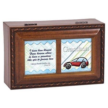 Grandson Blessings Wood Finish Jewelry Music Box Plays Tune Ave Maria