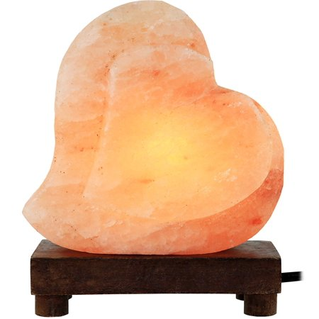 GreenCo Heart Shaped Hand Carved Natural Himalayan Salt Lamp On A Wooden Base with Electric Wire, Dimmer Control & Bulb