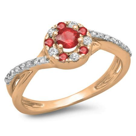 29738eb954 DazzlingRock Collection - 0.50 Carat (ctw) 14K Rose Gold Round Cut ...