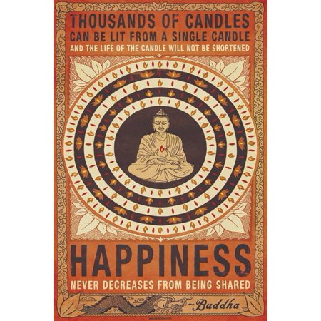 Happiness   Thousands Of Candles      Motivational Poster   Print  Buddha Quote   Size  24   X 36