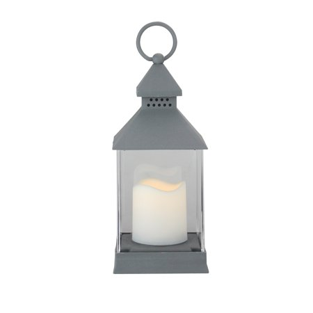 9.5 Dark Grey Candle Lantern with Flameless LED Candle - image 1 of 1