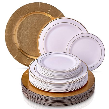 Wedding Disposable Dinnerware Set | 20 Chargers, 20 Dinner Plates and 20 Salad Plates | Golden Glare Collection - Wedding Dishware