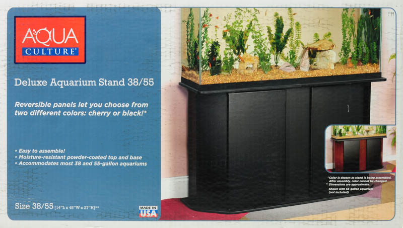 55 Gallon Aquarium Stand with Concealed Storage for Fish Foods Cleaning Supplies