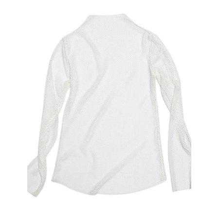 Women Long Sleeve See Through Blouse Fishnet Hole High Neck Mesh Tops Shirt