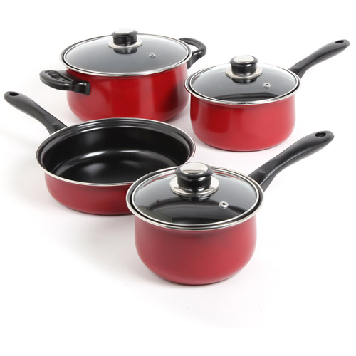 Gibson Sunbeam Newbrook 7-Piece Non-Stick Cookware Set, Red