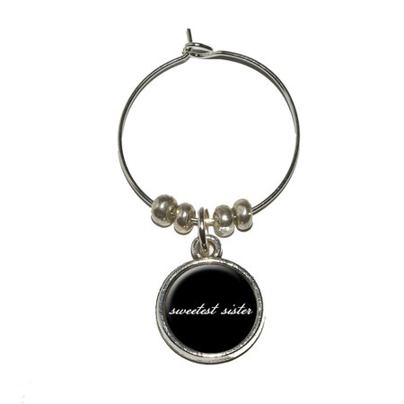 Sweetest Sister on Black Wine Glass Charm