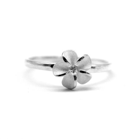 925 Sterling Silver Hawaiian Hibiscus Plumeria Ring CZ Single Shiny Hawaii Band