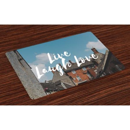 Live Laugh Love Placemats Set of 4 Rustic Country Houses with brick  Composition Calming Scenery and a Quote, Washable Fabric Place Mats for  Dining ...