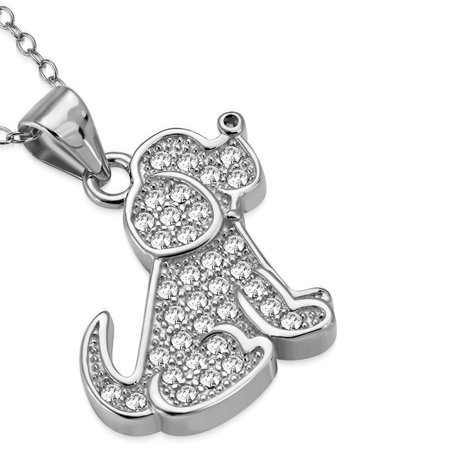 925 Sterling Silver White Clear CZ Puppy Dog Animal Pendant Necklace, 18