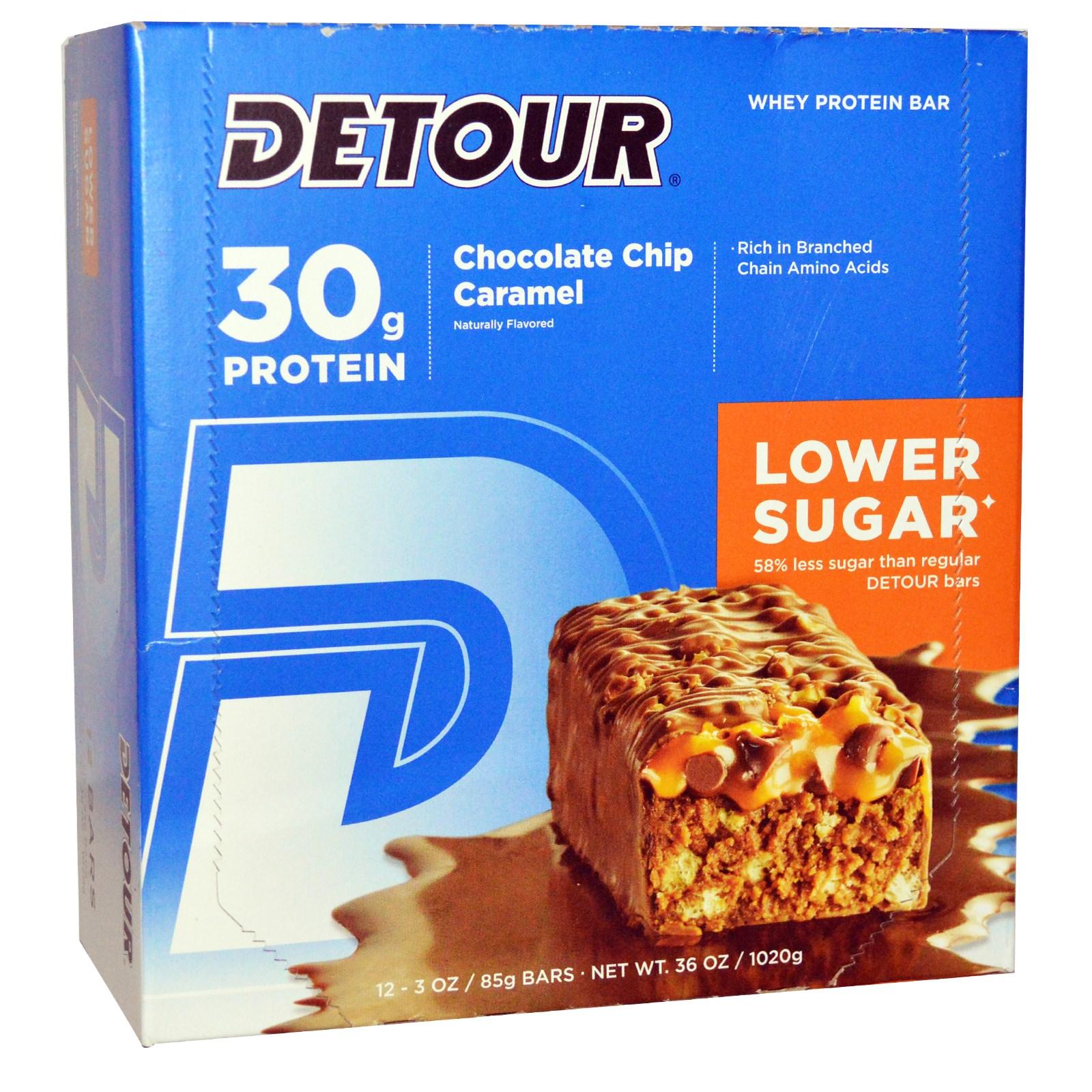 Detour, Whey Protein Bar, Chocolate Chip Caramel, 12 Bars...