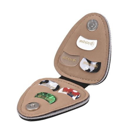 Guitar Picks Holder Case Bag PU Synthetic Leather with 6pcs Celluloid Picks String Instrument Accessories ()