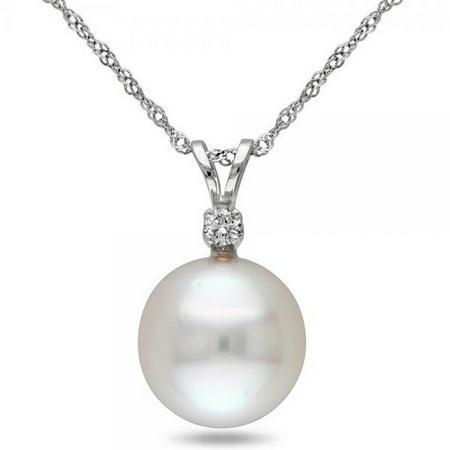 Solitaire South Sea Pearl Pendant Necklace w/ diamond 14k W. Gold