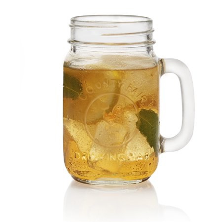 Libbey Handled Drinking Jar 8-Piece Set, Glass](Mason Jar Wine Glasses Bulk)