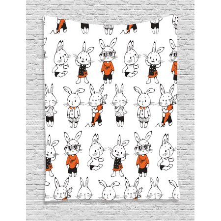 Funny Tapestry, Cute Retro Bunny Rabbits with Costumes Jack Hare Funky Bunnies Carrot Sketch Style, Wall Hanging for Bedroom Living Room Dorm Decor, Orange White, by - Bunny And Carrot Costume