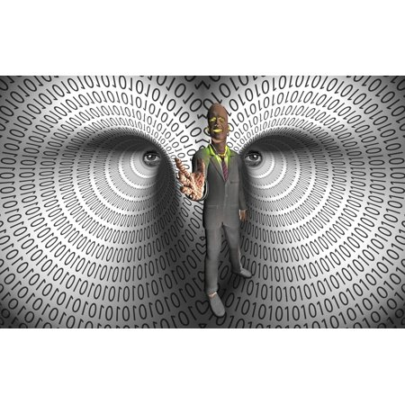 Data Thief. Binary code tunnels. Virtual man Poster Print by Bruce Rolff/Stocktrek Images Binary Code Silk