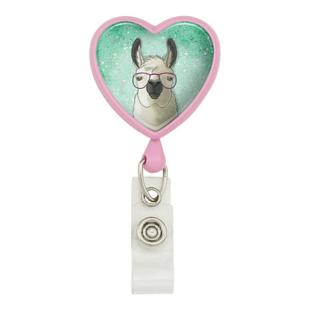 Hip Llama with Glasses Heart Lanyard Retractable Reel Badge ID Card Holder - Pink