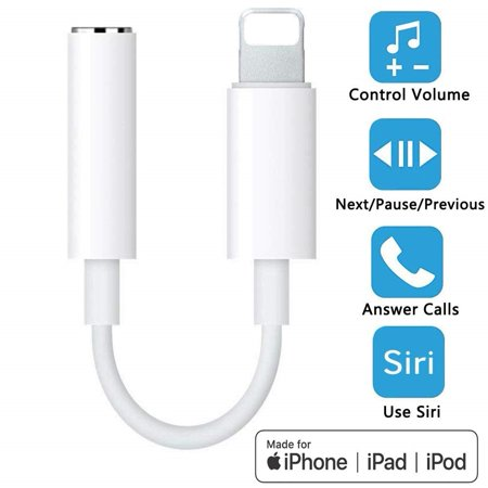 iphone Earphone Adapter, Lightning to 3.5mm Headphones/Earbuds Jack Dongle Adapter, Compatible with iPhone XS/XR/X/8/8 Plus/7/7 Plus/ipad/iPod, Support iOS 11/12,