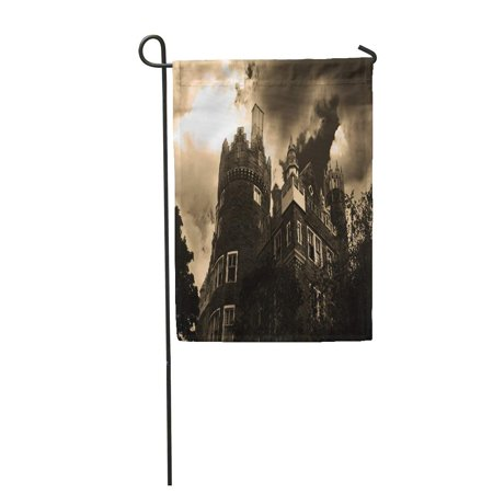 SIDONKU Gray House Creepy Halloween Haunted Mansion Vampire Garden Flag Decorative Flag House Banner 12x18 inch](Haunted Mansion Magic Kingdom Halloween)