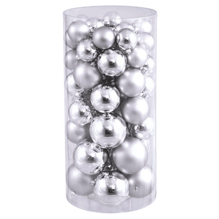 50ct Silver Splendor Shatterproof Shiny and Matte Christmas Ball Ornaments 1.5