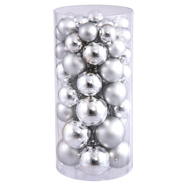 "50ct Silver Splendor Shatterproof Shiny and Matte Christmas Ball Ornaments 1.5""-2"""