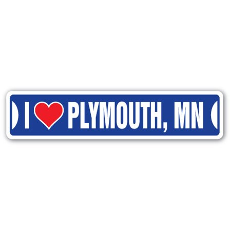 I LOVE PLYMOUTH, MINNESOTA Street Sign mn city state us wall road décor gift