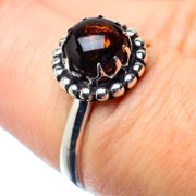 Garnet Ring Size 7.25 (925 Sterling Silver)  - Handmade Boho Vintage Jewelry RING26751