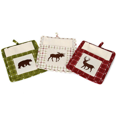 DEI Woodland River 3 Piece Cotton Pot Holder Set