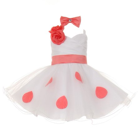 Little Girls White Coral Polka Dots Bow Organza Flower Girl Dress 4T](4t Flower Girl Dresses)
