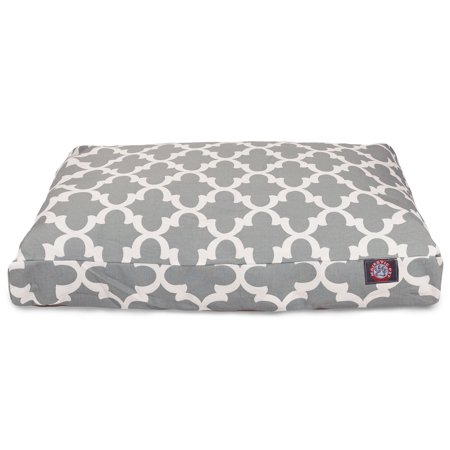 Majestic Pet Trellis Rectangle Dog Bed Treated Polyester Removable Cover Gray Large 44