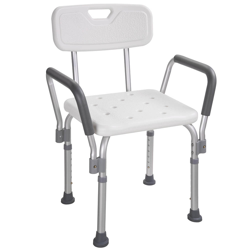 aw medical bath shower seat adjustable height bathtub bench chair stool w armrest back for