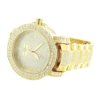 Mens Hot Khronos Aqua Master Designer Custom Diamond Gold Finish Iced Band Watch