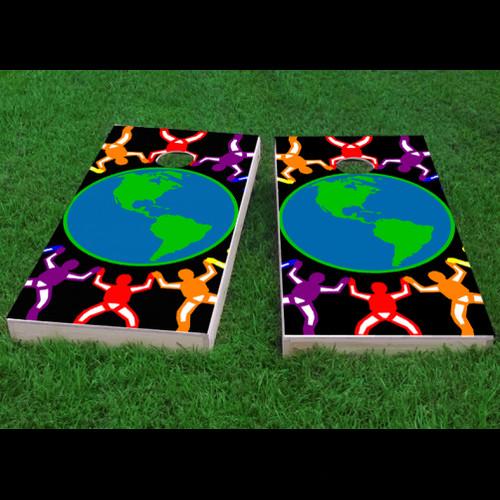 Custom Cornhole Boards Gay Pride Rainbow People Around the Earth Cornhole Game (Set of 2)