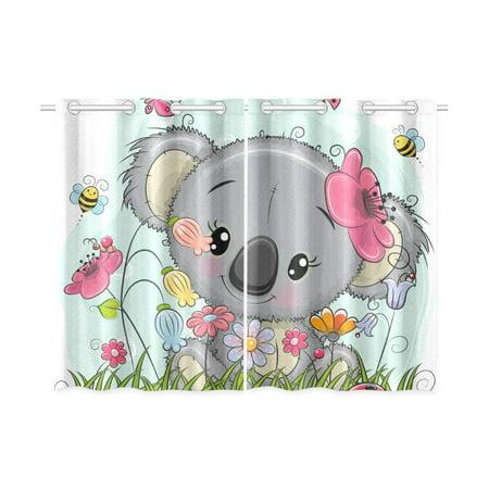 YUSDECOR Cute Cartoon Koala Girl Window Curtain Kitchen Curtain 26x39 inch,Two Piece - image 3 of 3