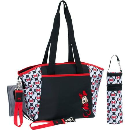 Disney Minnie Mouse Tote Diaper Bag 5pc Set Black White