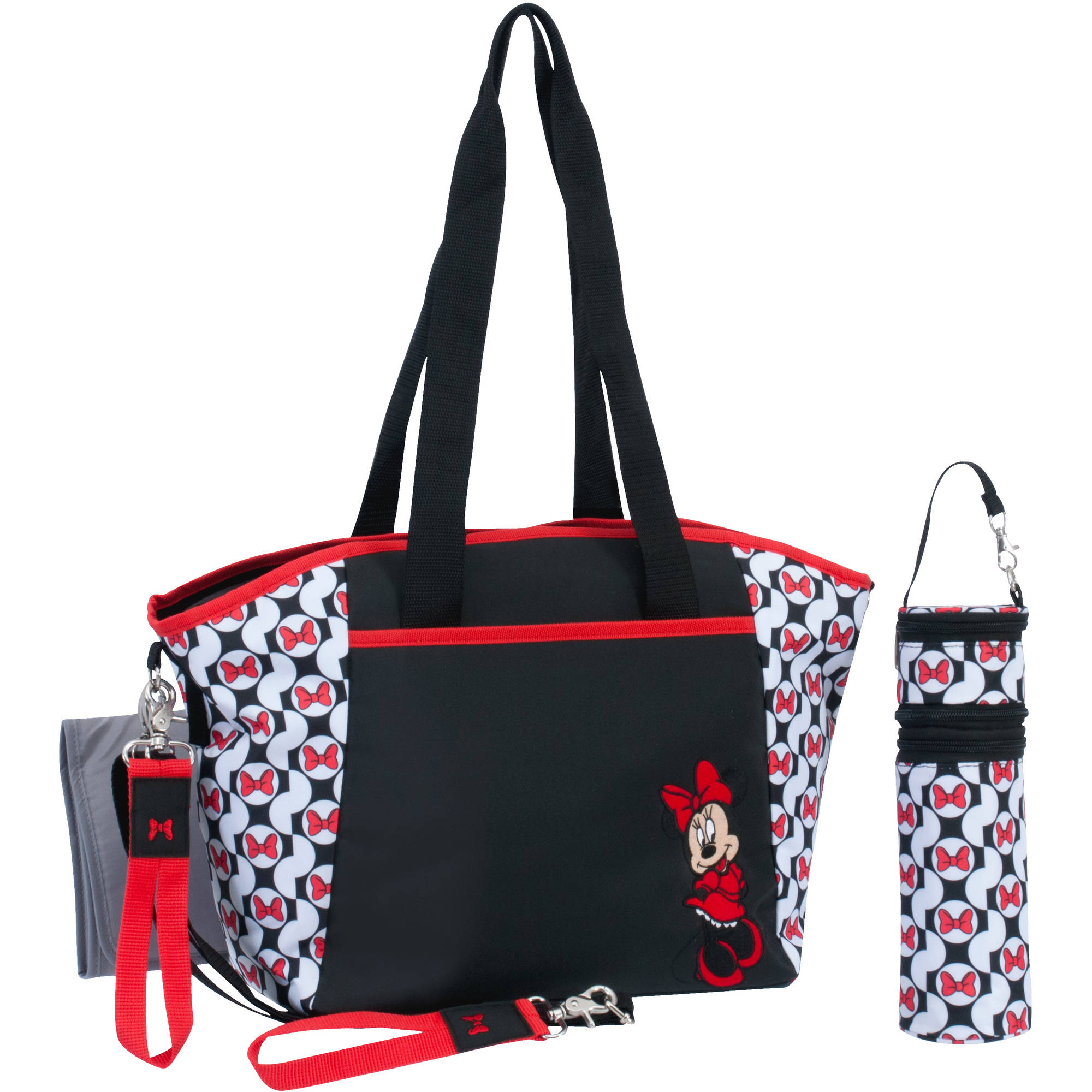 Disney Minnie Mouse Tote Diaper Bag 5pc set, Black/White