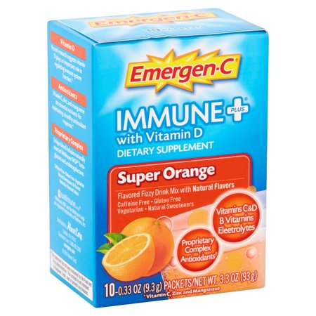 Emergen-c (10 count, super orange flavor) immune+ system support with vitamin d, dietary supplement fizzy drink mix with 1000mg vitamin c, 0.32 ounce packets, caffeine