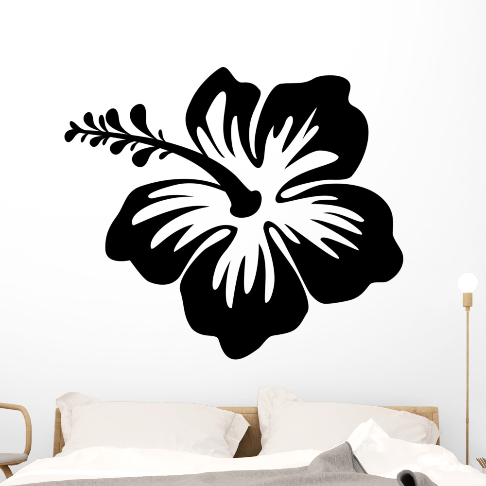 Silhouette hibiscus flower wall decal by wallmonkeys peel and stick silhouette hibiscus flower wall decal by wallmonkeys peel and stick graphic 18 in h x 18 in w wm89092 walmart izmirmasajfo