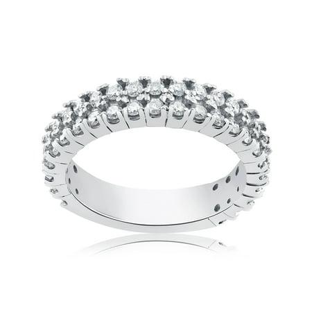 f66f58bbff9aa 3/4 ct Half Eternity Double Row Diamond Wedding Stackable Ring 14K White  Gold