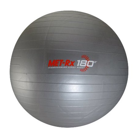 Met Rx 180 Grey Fitness Exercise Ball With Pump