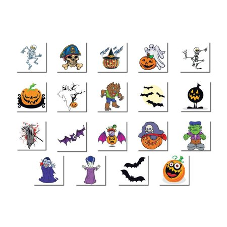 Halloween Assortment Pack of Temporary Tattoos - Glow In Dark Tattoo