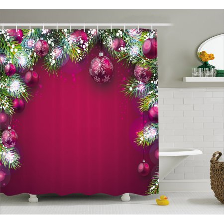 Christmas Shower Curtain, Festive Traditional Composition with Fir Branches Vivid Balls Snowflakes, Fabric Bathroom Set with Hooks, 69W X 70L Inches, Magenta Green White, by Ambesonne