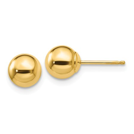 Solid 14k Yellow Gold Polished 6mm Ball Post - Gold Ball Post Earrings