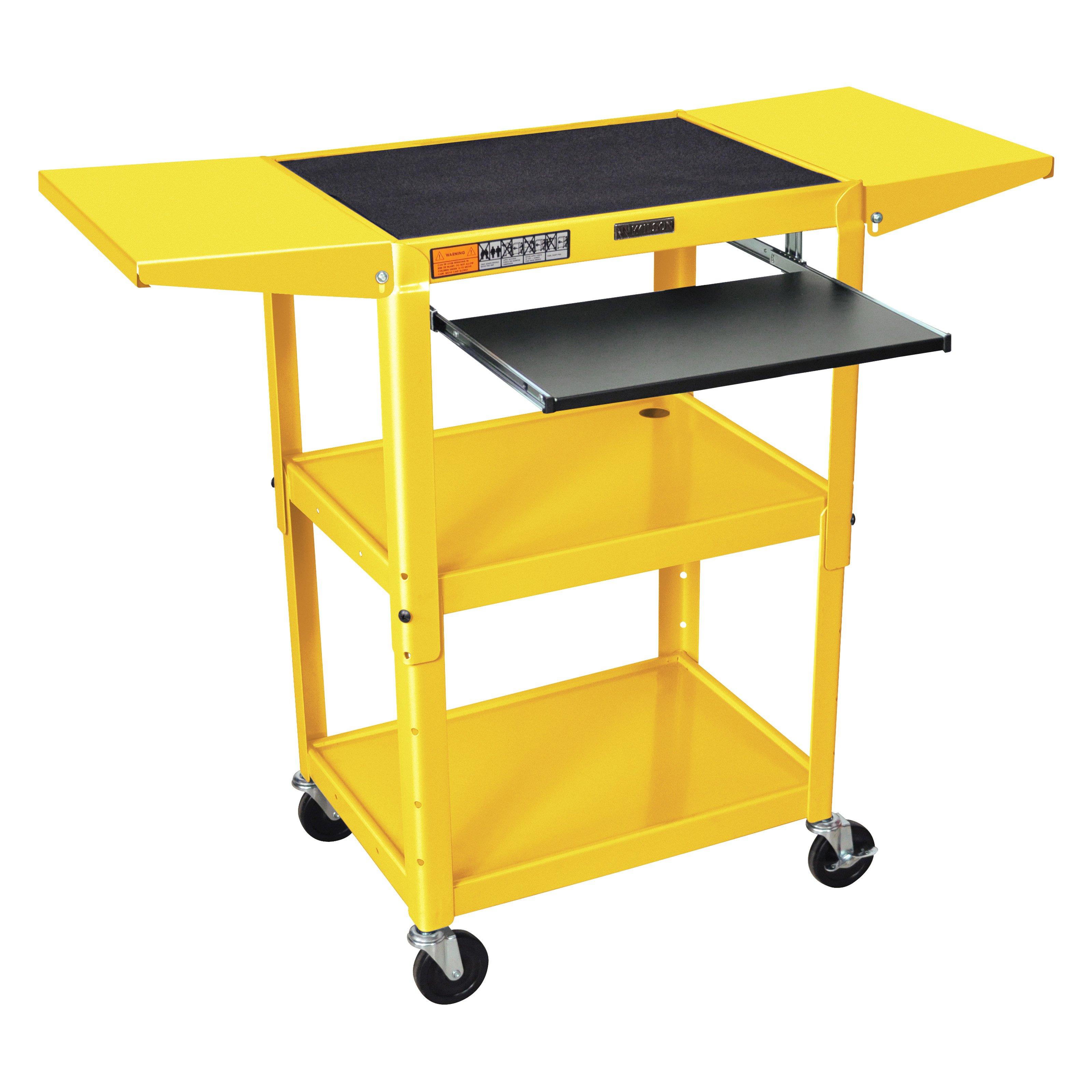Adjustable-Height Steel AV Cart – Pullout Keyboard Tray, Drop Leaf