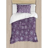 Eggplant Twin Size Duvet Cover Set, Christmas Inspired Cute Flowers Snowflakes and Swirls in a Violet Delicate Environment, Decorative 2 Piece Bedding Set with 1 Pillow Sham, Violet, by Ambesonne