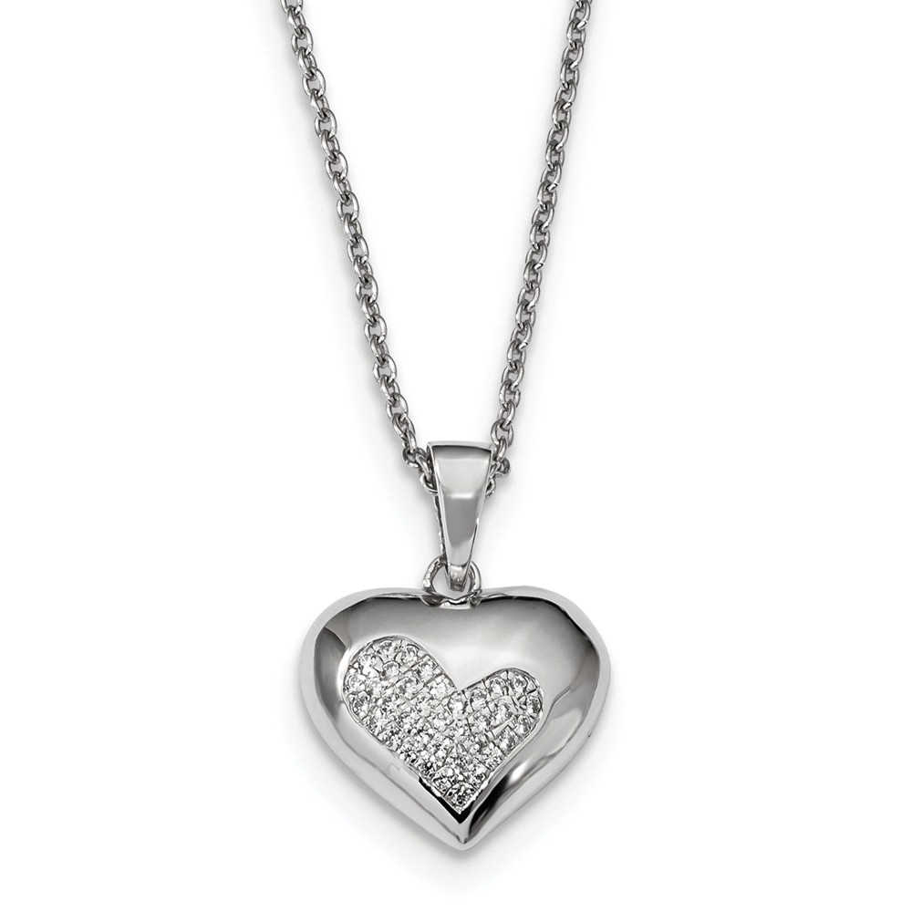 Sterling Silver & CZ Brilliant Embers Polished Heart 18in Necklace