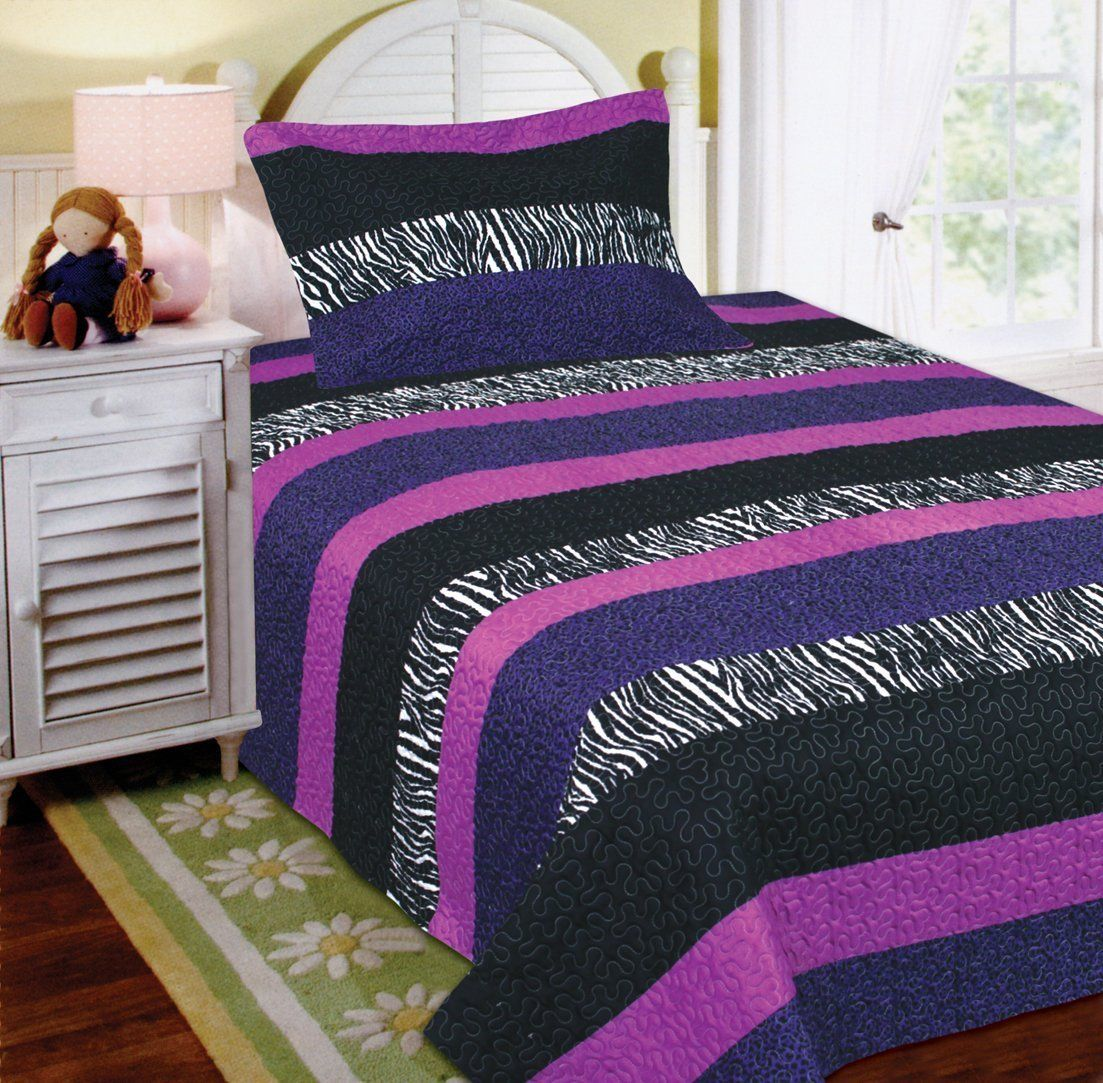 Fancy Linen 2pc Twin Bedspread Teens Zebra Leopard Purple Pink White Black New