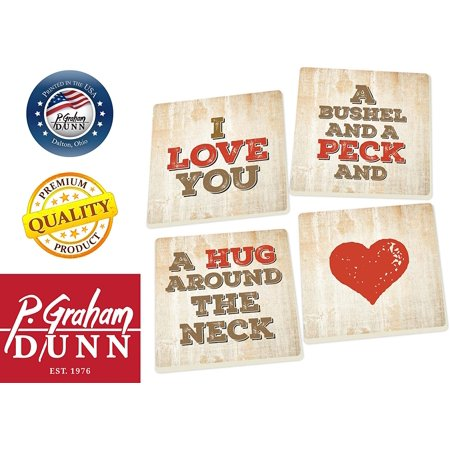 - I Love You a Bushel and a Peck 5 x 5 Super Absorbent Ceramic Coasters, Set of 4