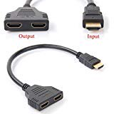 Auskic 1080p Hdmi Male to Dual Hdmi Female 1 to 2 Way Hdmi Splitter Cable Adapter Converter for DVD Plays / PS3 / HDTV, LCD Monitor and Projectors, Signal One In, Two